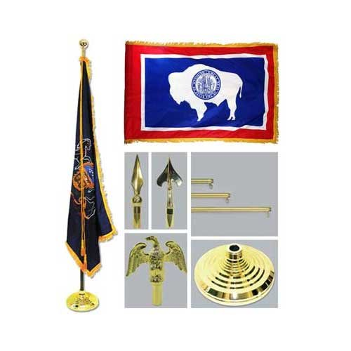 Wyoming 4Ft X 6Ft Flag Telescoping Flagpole Base And Tassel