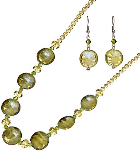 Royal Diamond Earthen Green Elegance Necklace and Earrings intex олененок
