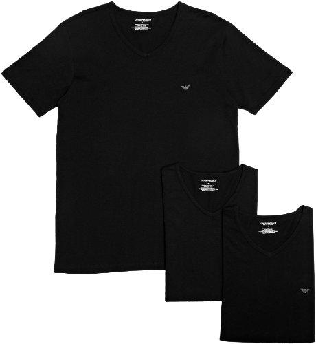 Emporio Armani 3er Pack V-Neck Shirt CC712, Größe: L - nero