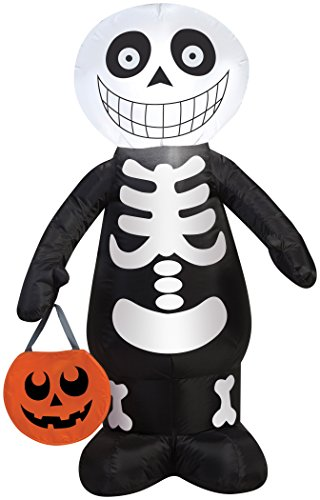 Halloween Inflatable 3.5' LED Trick or Treat Skeleton By Gemmy