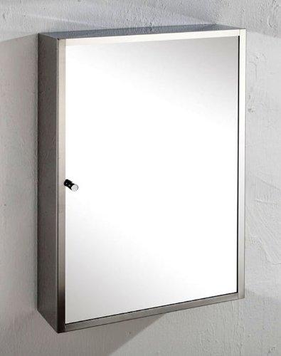 Monaco 35cm Wide by 50cm Tall Single Door Mirror Bathroom Wall Cabinet