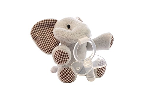 Pacifier with Plush Stuffed Animal Eli - Unique Baby Pacifiers for Newborn or Teething Babies - Cute Elephant Provides Comfort and Fun