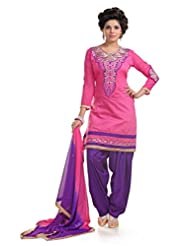 Ethnic For You Pink & Purple Chanderi Cotton Embroidery Work Dress Material-ETH5205