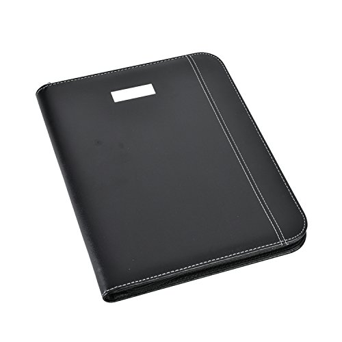 arpan-black-leather-look-a4-zipped-conference-folder-with-calculator-pad-executive-portfolio