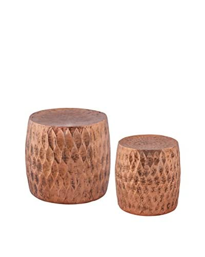 Artistic Set of 2 Djembe Global Iron Stools, Copper