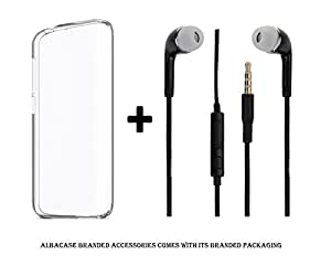 Vivo Y27 Transparent Back Cover Premium Crystal Clear Case and 3.5mm Jack Stereo Earphones ( Headphones / Handsfree / Headset ) Black by Albacase
