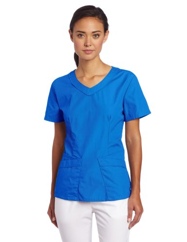Landau Women's Rounded V-Neck Scrub Tunic, Royal, Small (Landau Scrub Top compare prices)