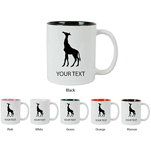 Personalized Custom Giraffe 11 Oz White Ceramic Sublimation Two Tone Coffee Mug For Men And Women Perfect Customizable Holiday Gift Or 21St Birthday Present! Contact Seller For Text Personalization Or Leave A Gift Message At Checkout!