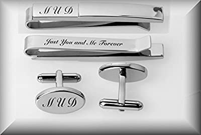 Personalized Silver Oval Cufflinks & Tie Clip Set Engraved Free