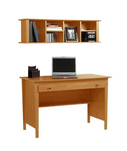Buy Low Price Comfortable Contemporary Computer Desk and Wall Mounted Desk Hutch Combination in Maple MWD4730K (B004E2U6XG)