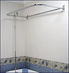 Add On Shower Set For Clawfoot Tub Diverter Faucet Riser And D Shaped Shower Rod Bathtub
