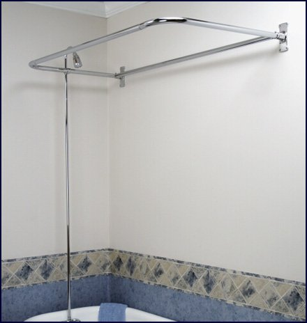 Add On Shower Set For Clawfoot Tub Diverter Faucet Riser And D Shaped Shower