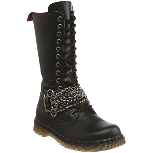DEMONIA DISORDER-301 Men's Gothic Punk 14 Eyelet Calf Combat Boot Brass Knuckles