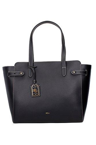 Borse Shopping Ralph Lauren Donna Pelle Nero, Bianco e Oro N91L7195AL283A0001 Nero 15x33.5x30 cm