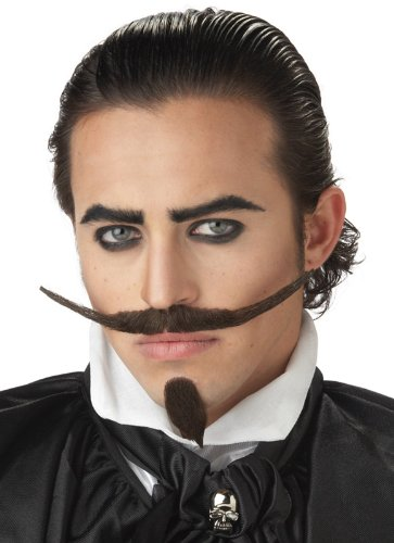California Costumes The Dandy Moustache & Chin Costume Accessory, Dark Brown, One Size
