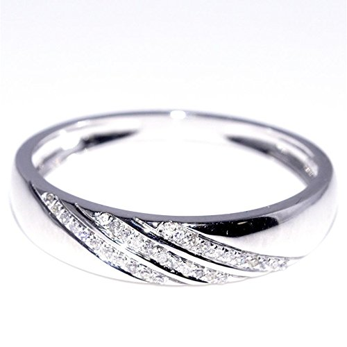 His and Her Trio Wedding Rings Set 1 3cttw 10K White Gold Mens ring 5mm la
