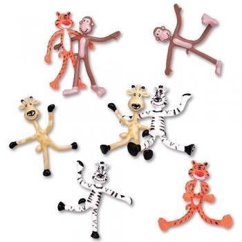 Dozen 'Fun Toys' Bendable Zoo Animals: Giraffes, Tigers, Monkeys, and Zebras - 4 inches tall - 1