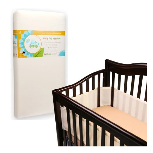 Lullaby Earth Super Lightweight Crib Mattress With Breathable Baby Crib Bumper, Ecru back-846832
