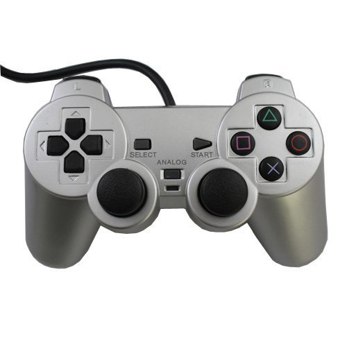 Donop® Silver Wired Controller for Ps2, Game Pad Game Gaming Controller Joypad Gamepad Console Controller Joysticks Black Compatible with Sony Playstation 2 w/ Dual Shock Dual for Ps2