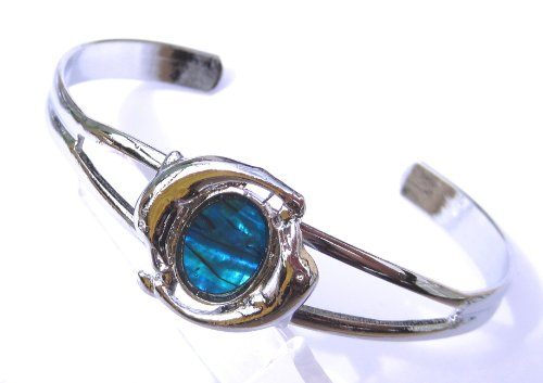 Blue Abalone Dolphins On A Silver Coloured Open Ended Bangle