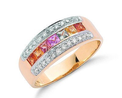 9ct Yellow Gold Real Coloured Sapphire & Diamond Anniversary Ring 0.93ctw