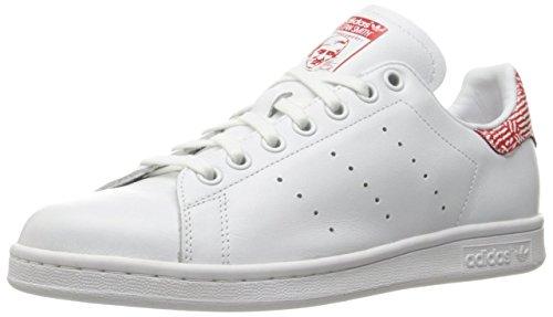 adidas Originals Women's Stan Smith W Fashion Sneaker, White/White/Collegiate Red, 8 M...