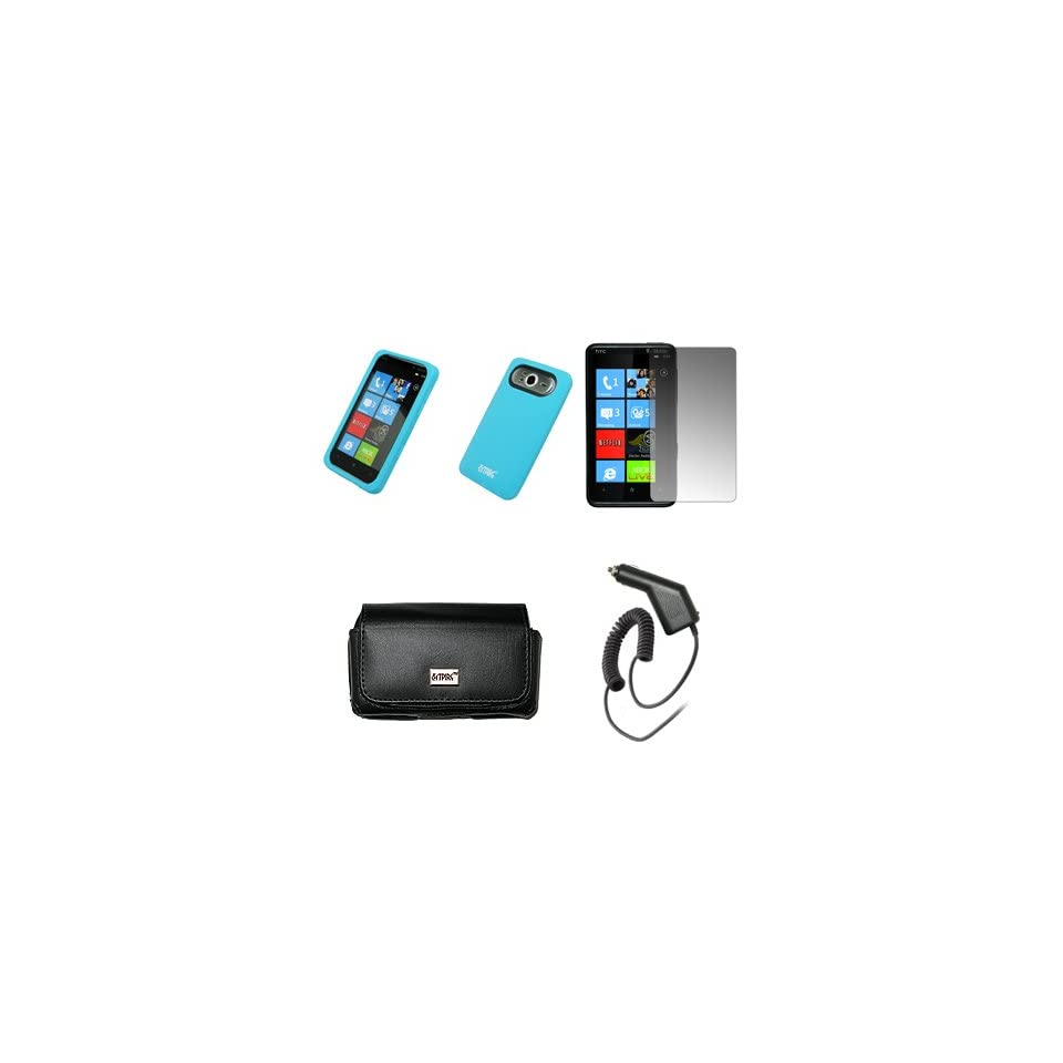EMPIRE Black Leather Case Pouch with Belt Clip and Belt Loops + Light Blue Silicone Skin Cover Case + Screen Protector + Car Charger (CLA) for T Mobile HTC HD7