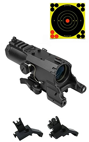 Details for Tactical Rifle Kit Includes VISM ECO 4X34 Rifle Scope With Integral Green Laser and Integral LED Navigation Light + Quick Deploy Flip-Up Backup BUIS Aiming Sights With Push Button Locking Mechanism + Pack of 5 SHOOTNC Self Adhesive Bull's Eye Targets / Th