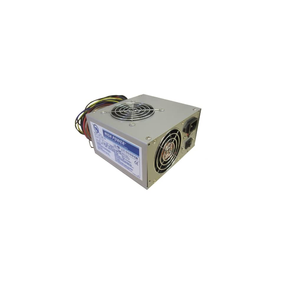 HIGH POWER® 360W Dual Fan 20 pin Computer Internal ATX Power Supply with 6 pin Aux Power Connector