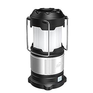 HiHiLL Lanterne Portable 21 LED Pliable Étanche Port USB de Sortie Batterie Rechargeable intégrée/3xAA Batteries Lumière d'urgence pour Randonnée, Camping (Argent et Noir)