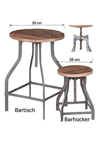 SALE-Bartisch-hhenverstellbar-mit-Gewinde-DREHBAR-von-1stuff-aus-massivem-recyceltem-Massivholz-im-antiken-Vintage-Look-sehr-robust-in-Handarbeit-gebaut-Gewindetisch-Stehtisch-Drehtisch-Bartisch-55x55