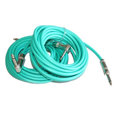 Pair of Right Angle to Straight 20' Colored Guitar/Instrument Cables Green New
