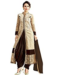 STYLE N DEAL Women's Mix Cotton Unstitchced Dress Material (311D3059_Beige Brown_Free Size )