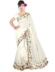 Dancing Girl Net White Embroidered Party Wear Saree With Blouse
