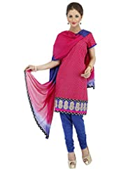 Utsav Fashion Women's Dark Fuchsia Cotton Readymade Churidar Kameez-Large