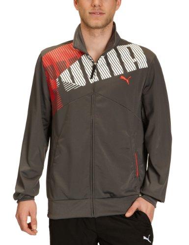 Puma - Giacca di tuta sportiva con scritta, uomo grigio Grigio - grigio scuro M