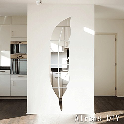 Alrens diy tm 6pcs 1 feather mirror surface crystal wall - Stickers miroir cuisine ...