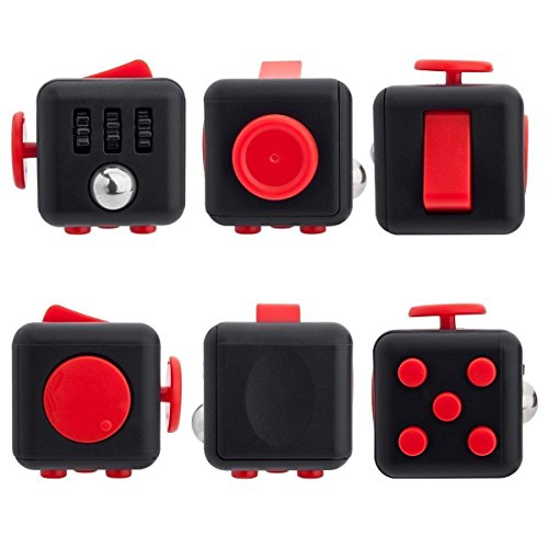 Black Red Stress Anxiety Fidget Cube