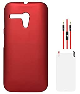 DMG Hard Back Protective Cover Case for Motorola Moto G XT1032 (Red) + AUX Cable + Matte Screen