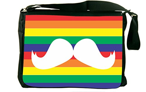 Rikki Knighttm Mustache On Rainbow Background Messenger Bag - Shoulder Bag - School Bag For School Or Work front-615450