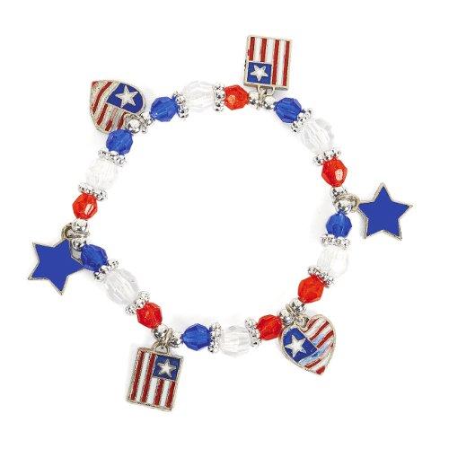 Beaded Patriotic Charm Bracelet Craft Kit (1 dz)