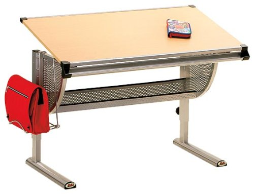 Links-50500450-Plato-Schreibtisch-Metall-MDF-Buche-Dekor-115x73x62-93-cm