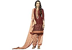 Kvsfab Maroon & Peach Pure Cotton Embroiderd Karishma Kapoor Patiala Dress Material