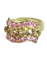 Pink And Rust Stone Studded Adjustable Ring - Stone And Metal