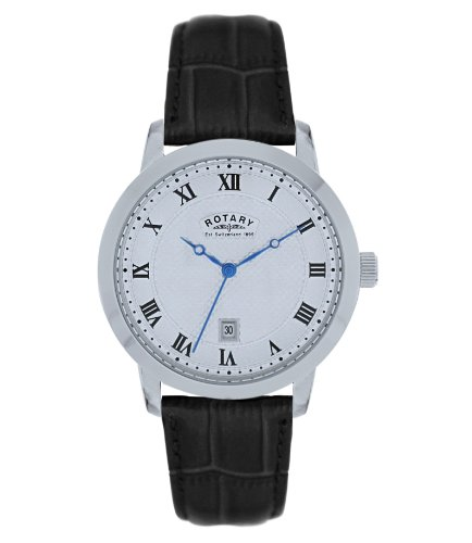 Rotary Men's Analogue Watch GS42825/01 with Silver Roman Dial and Black Leather Strap