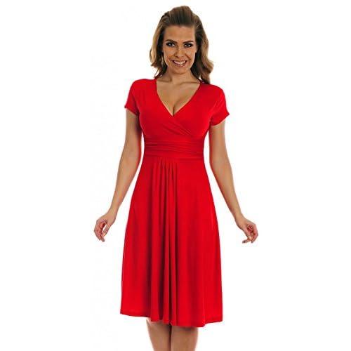 Glamour Empire Women's Knee Length Short Sleeve Jersey Skater Summer Dress 108