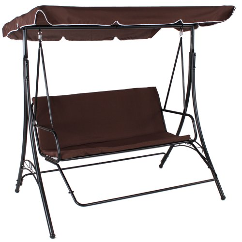 Luxury 3 Seat Swing Hammock with Footrest brown