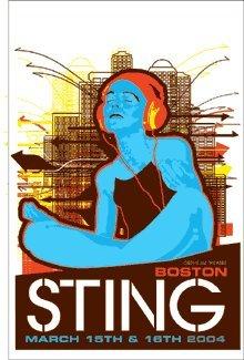 Sting 15-16/03/04Boston Edizione Limitata seta protezione per musica Poster by Ciminiera con originale firmato e numerato: Sting