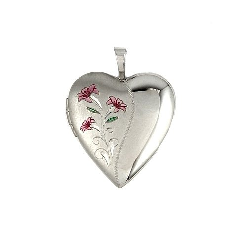 Heart Shape Satin And Polish Finish Sterling Silver Locket With Pink Flowers Design