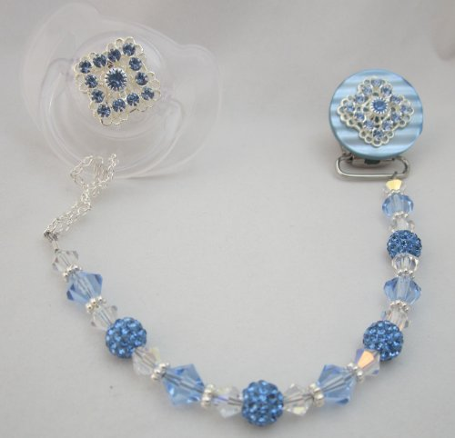 Blue Beaded Luxury Pacifier Clip (CSHB)